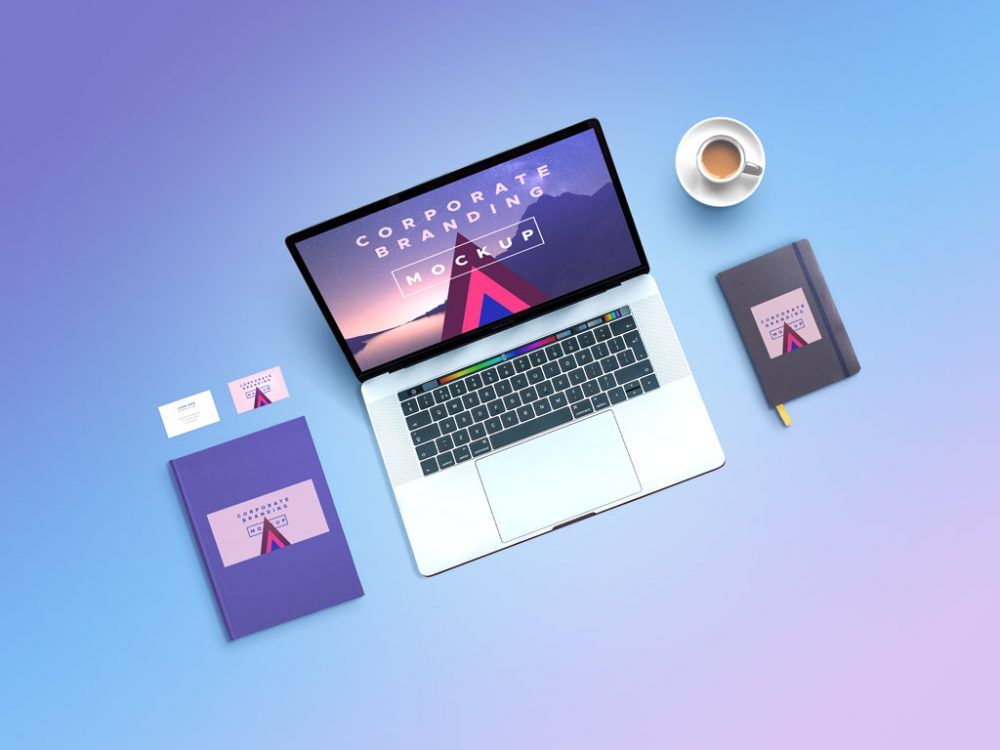 Corporate Branding Free Mockup with MacBook
