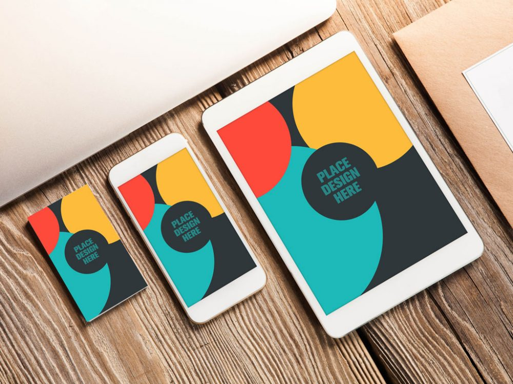 Tablet iPhone and a Business Card Free Mockup