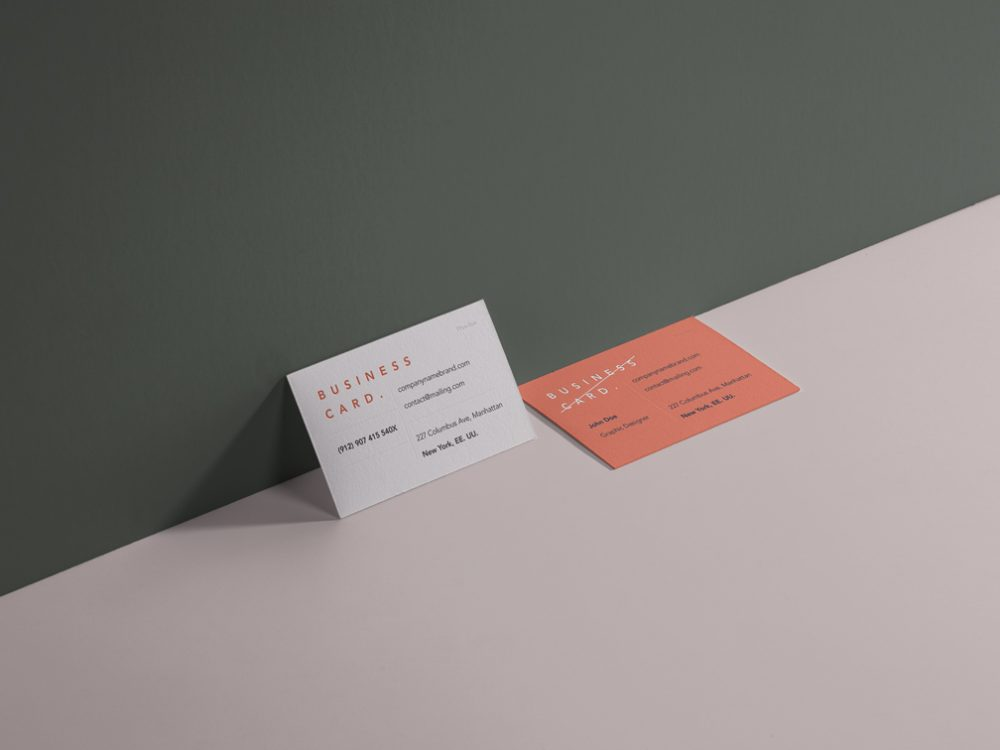 Perspective Business Cards Showcase Free Mockup