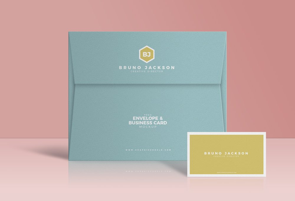 Envelope with Business Card Free Mockup