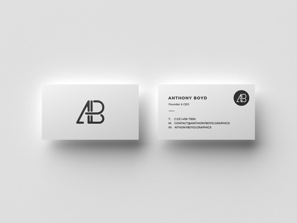 Top View Floating Business Cards Free Mockup