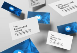 Floating Business Cards Free Mockup