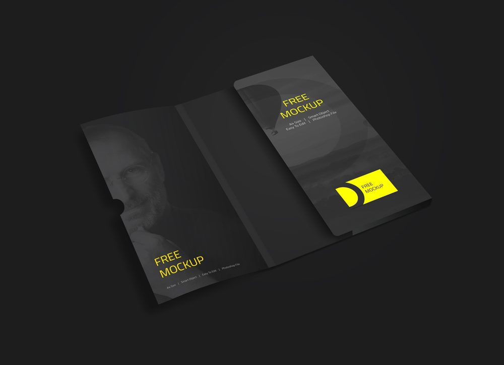 Corporate Folder with Business Card Free Mockup
