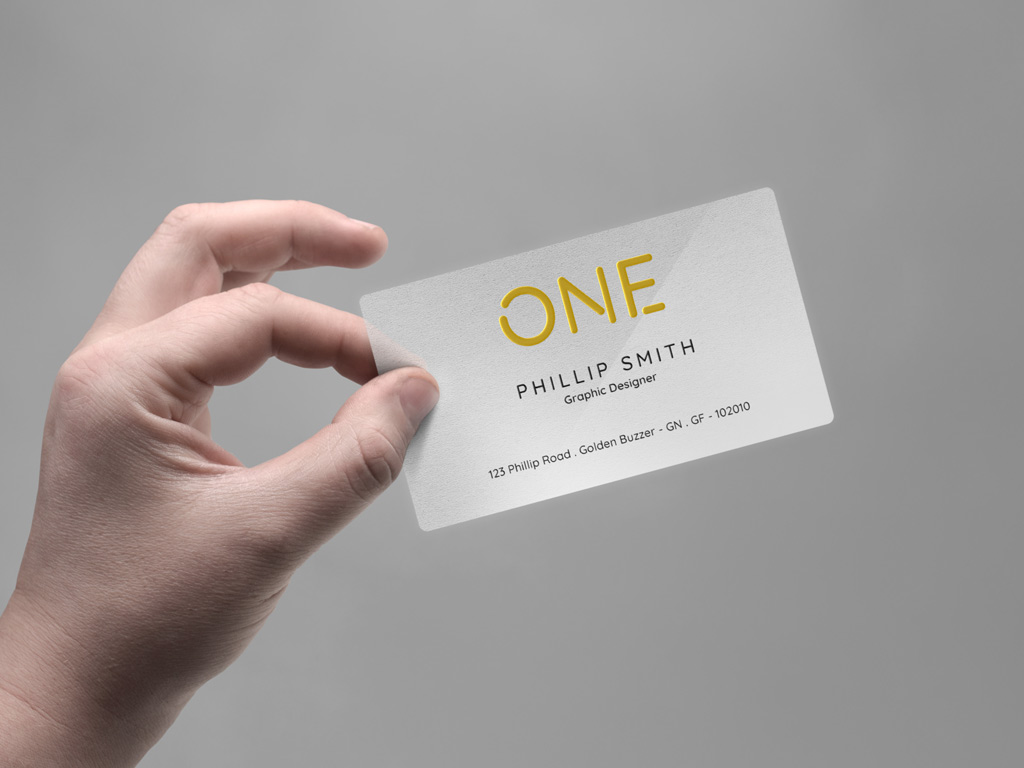 Realistic Hand holding Business Card Free Mockup