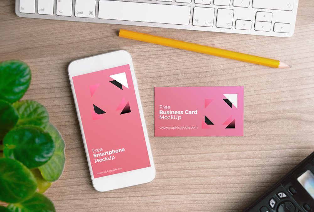 iPhone with Business Card Free Mockup