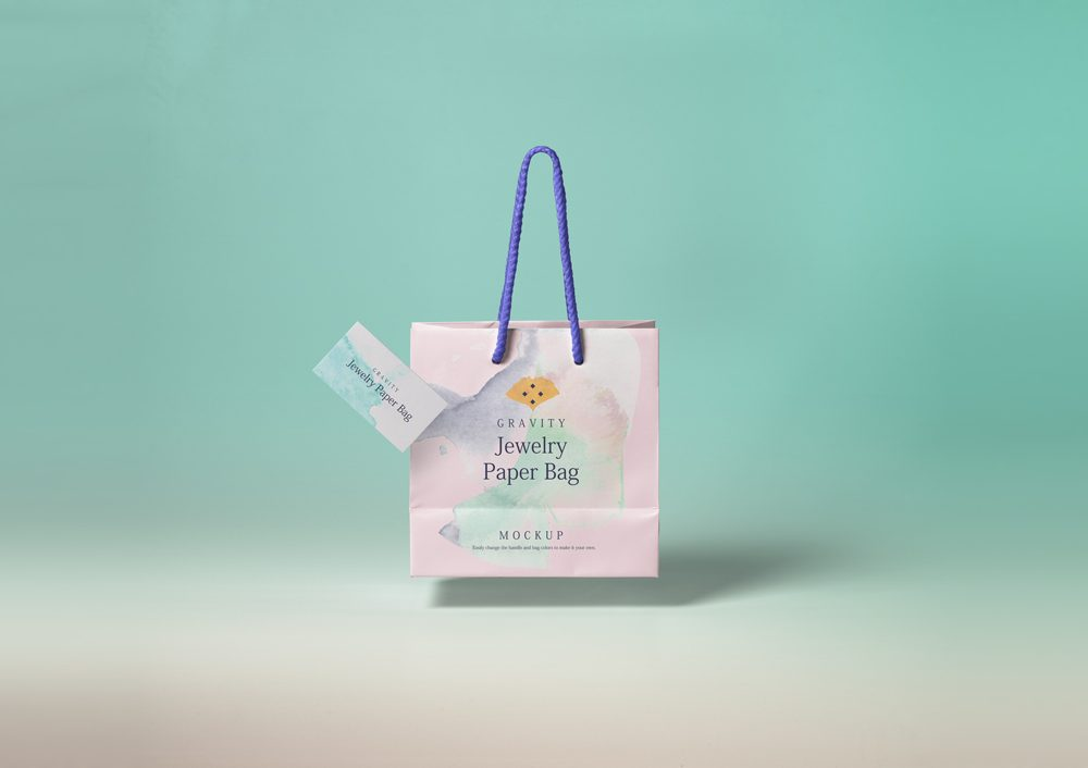 Gravity Paper Shopping Bag with Business Card Free Mockup
