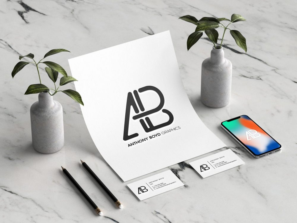 Branding Identity with iPhone Free Modern Mockup
