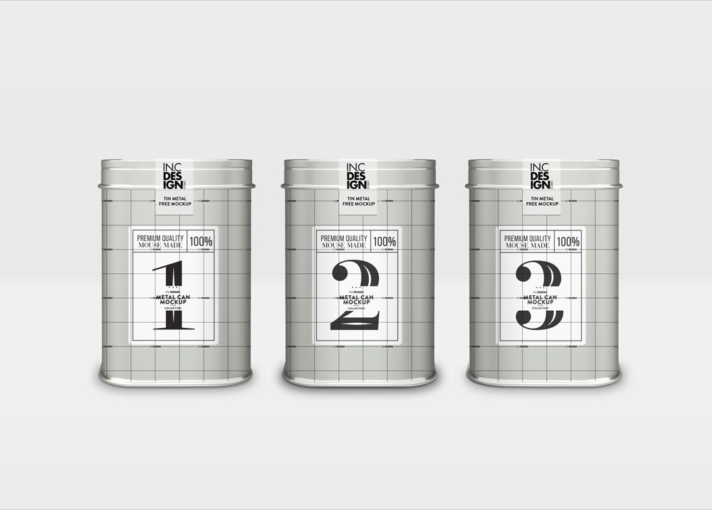 Free Metal Tin Packaging Mockup