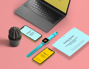 UI Showcase with Apple Devices free PSD