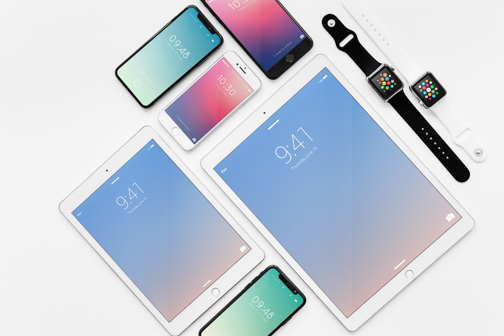 Apple Devices Showcase Mockup Bundle free PSD