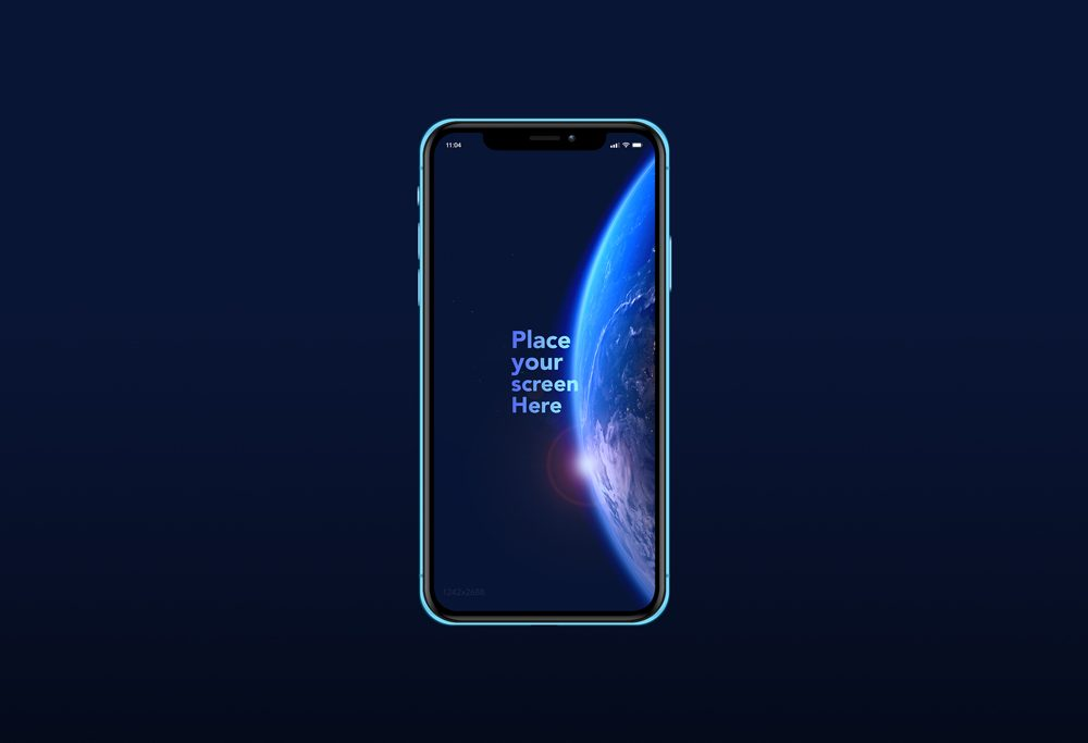 Blue iPhone XR free PSD