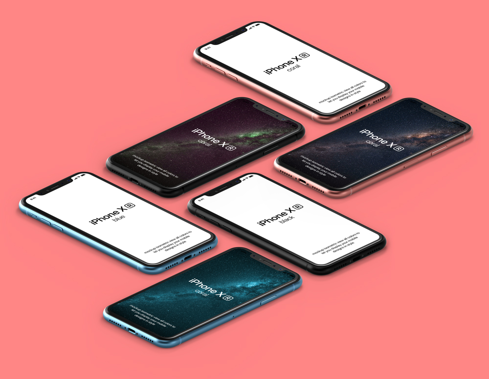 Isometric iPhone XR Showcase free PSD