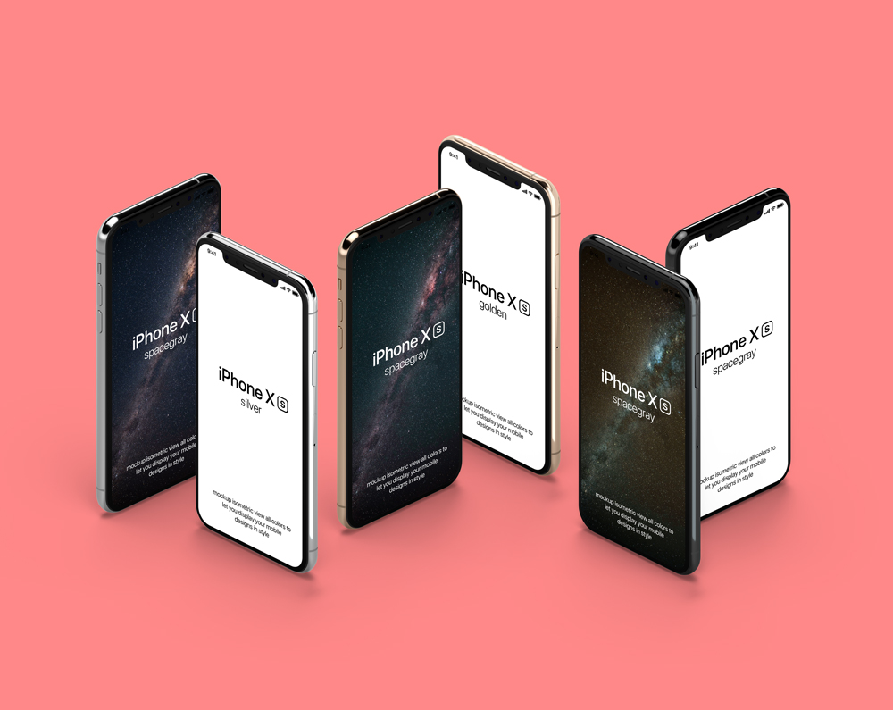 Isometric standing iPhone XS Showcase free PSD