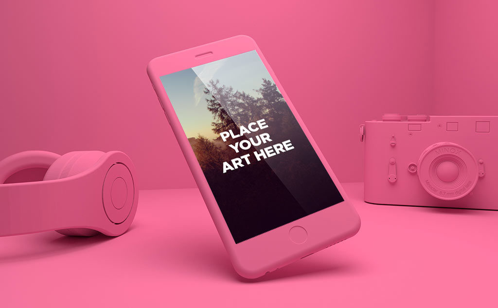 Set of floating iPhone 6S free PSD