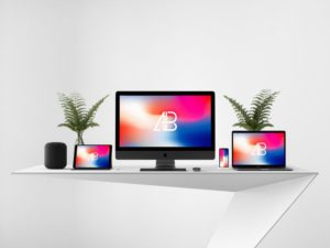 Apple Devices on Desk free PSD