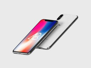 Floating black or white iPhone X free PSD