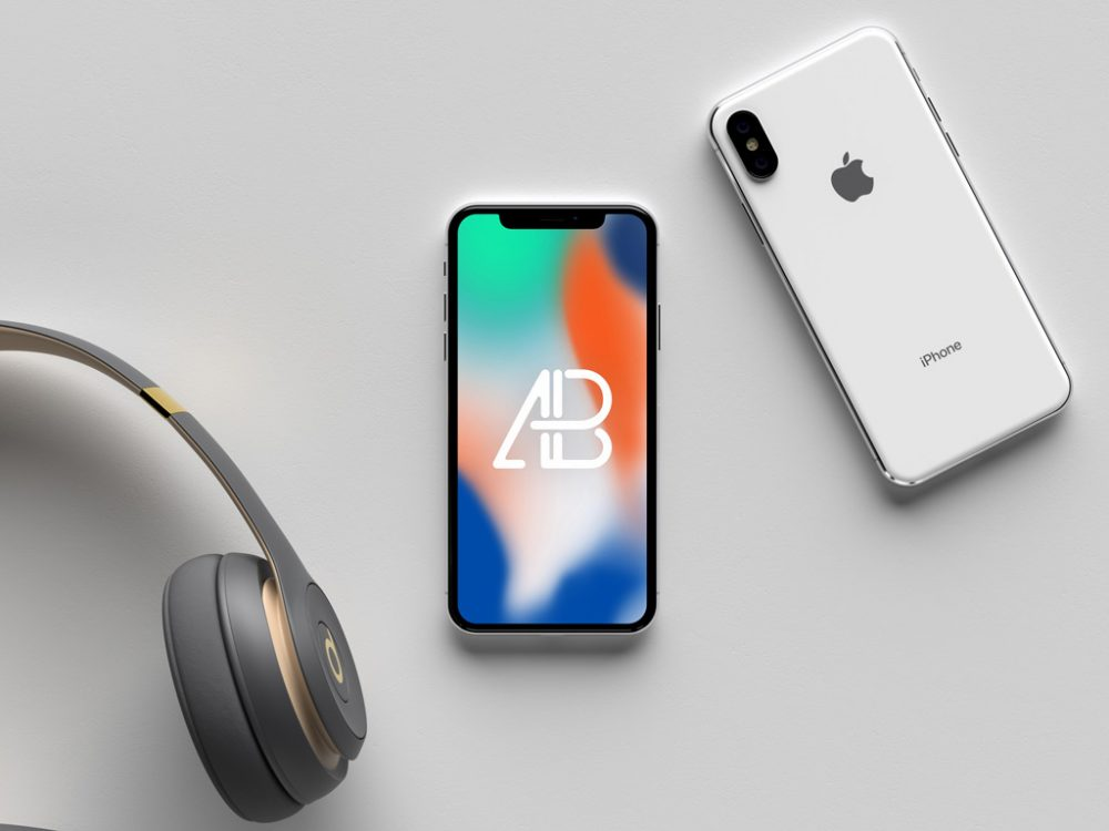 White iPhone X (front and back) free PSD