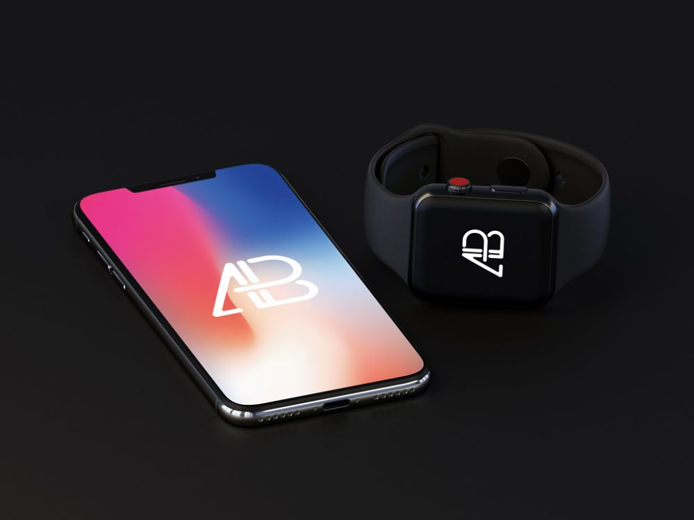 iPhone X with Apple Watch (Series 3) free PSD