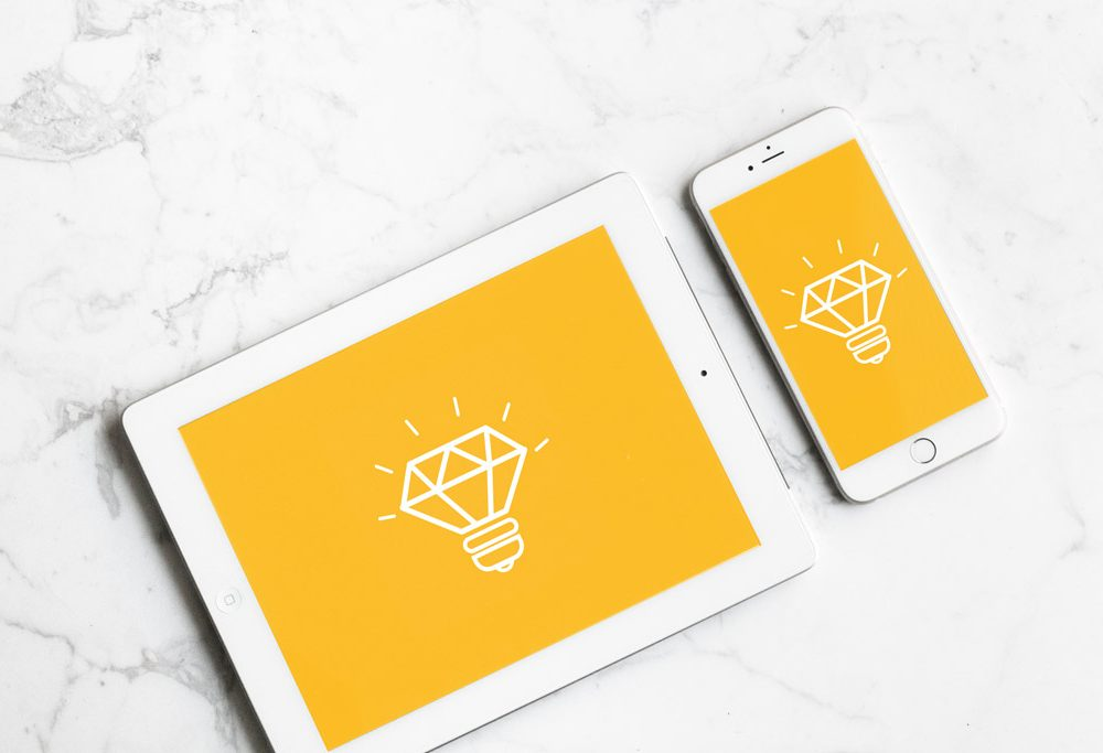 White iPad with iPhone free PSD