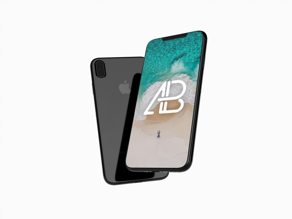Floating JetBlack iPhone X free PSD