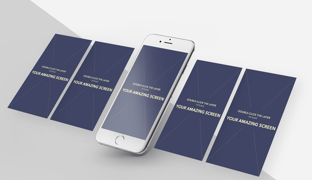 iPhone with App Screens free PSD