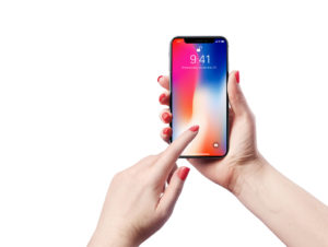 iPhone X in female Hand free PSD