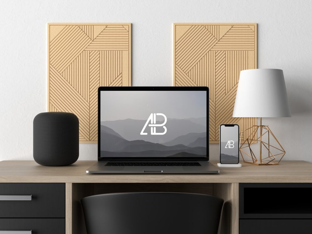 MacBook an iPhone X on modern Desk free PSD