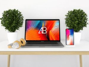 MacBook Pro Desk Scene free PSD