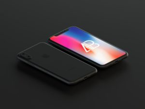 Floating Matte Black iPhone X free PSD