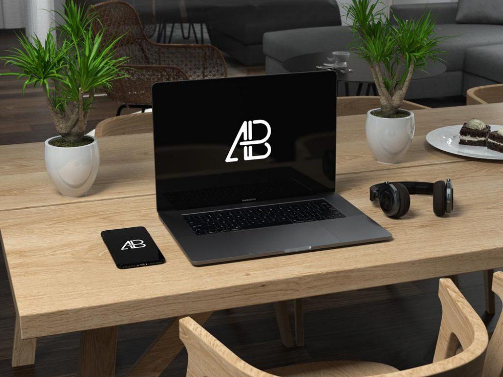 MacBook and iPhone on Table free PSD