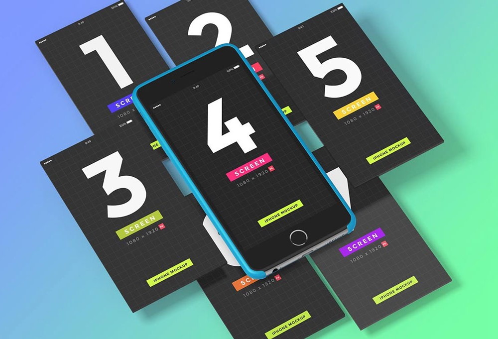 iPhone UI Showcase free PSD