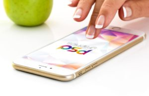 Golden iPhone with female Hand free PSD
