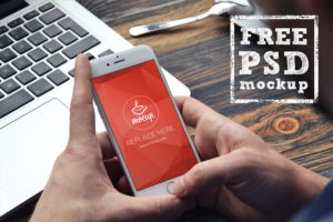 iPhone 6 in hands free PSD