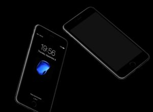 Floating iPhone 7 Jetblack  free PSD