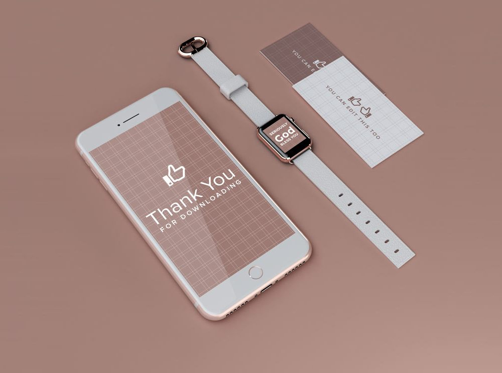 iPhone and Apple Watch UI and Branding free PSD