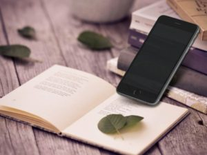 iPhone and Book Scene free PSD