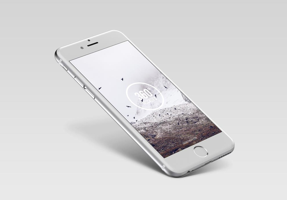 Floating silver iPhone free PSD