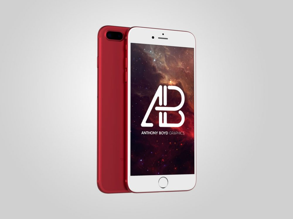 Red clean iPhone free PSD