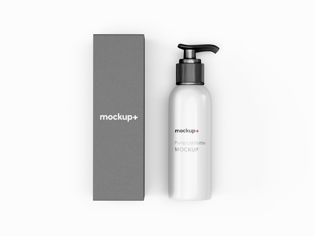 Free Pump Lid Bottle with Packaging PSD Mockup