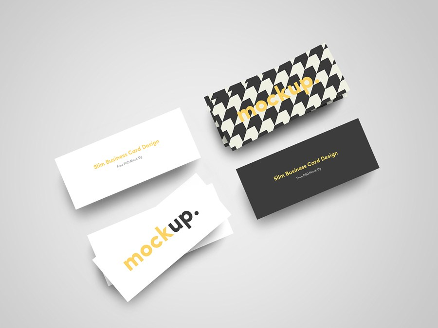 Stylish Slim Business Card Mockup