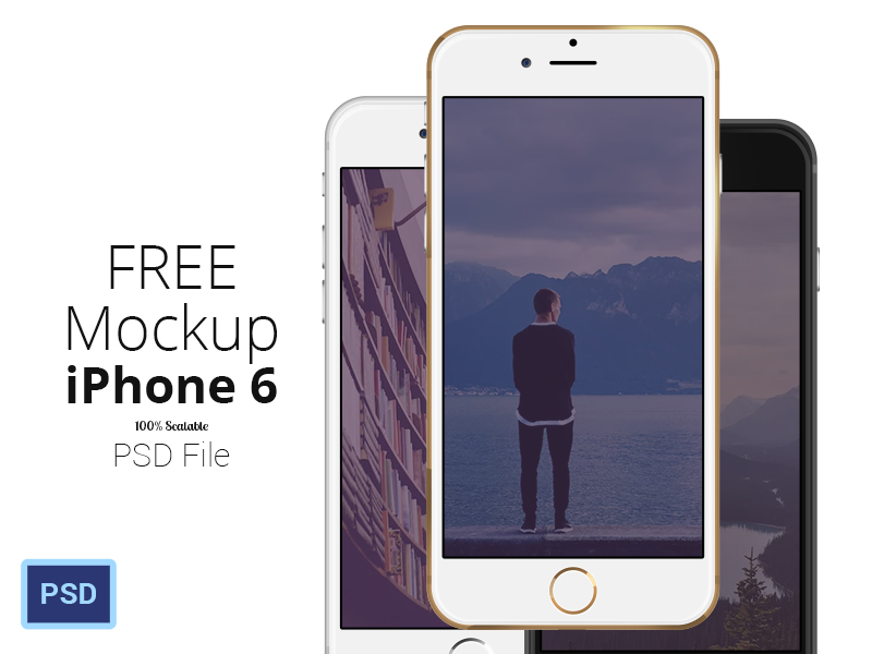 Black, gold and white iPhone free PSD  Mockups