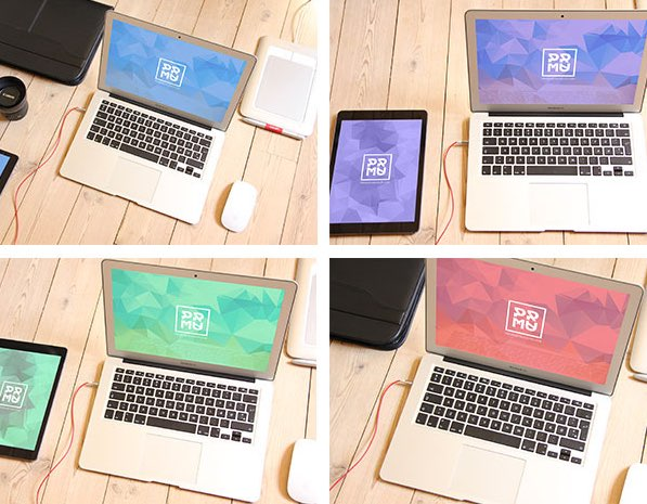 MacBook and iPad free PSD Mockup