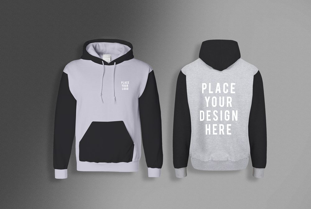 Men's Hoodie (front & back) free PSD Mockup