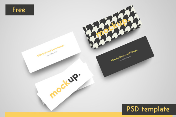 Slim Business Card free PSD Mockup