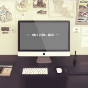 Vintage iMac on Desk free PSD Mockup