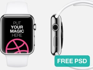 White and silver Apple Watch free PSD Mockup