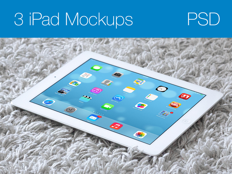 White iPad on Carpet Mockup