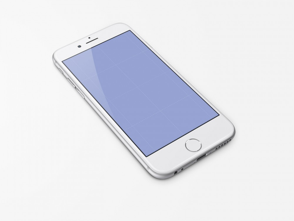 White iPhone 6 free PSD Mockup