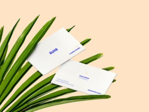 Business Cards and Palm Leaves Mockup
