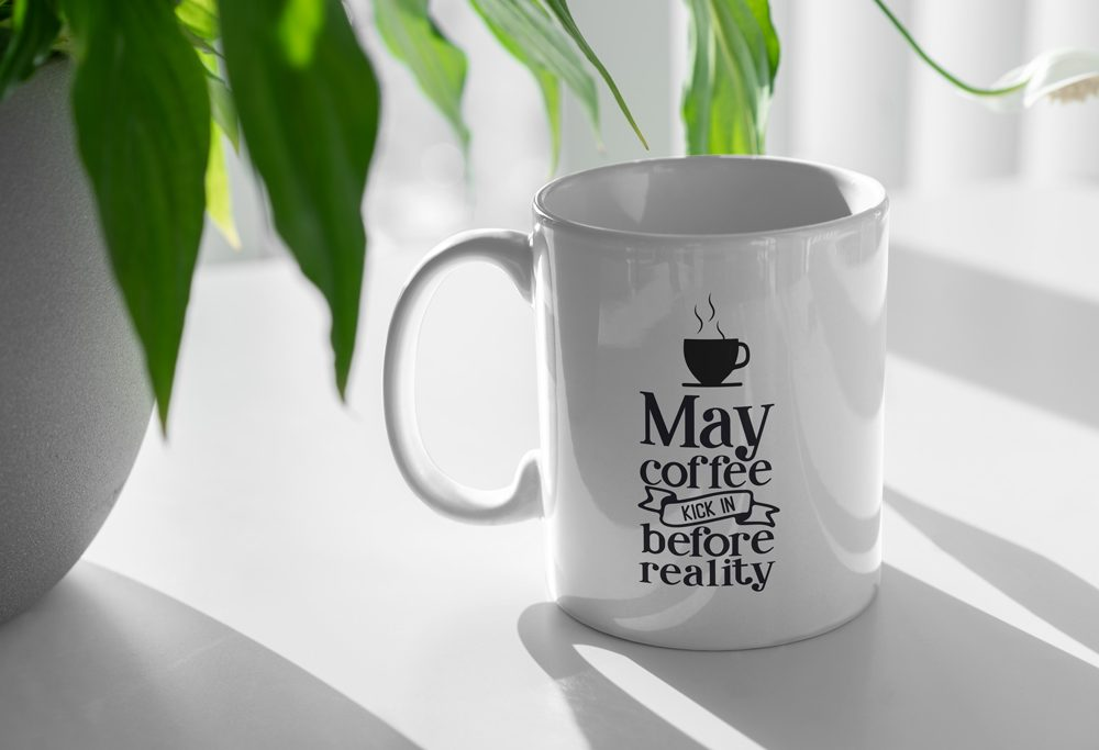 Coffee Cup and Plant Mockup